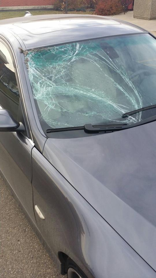 Smashed Windshield Exterior